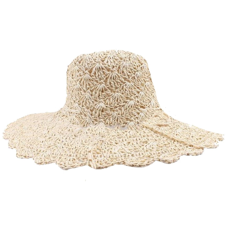 eYourlife2012 Women's Straw Pierced Summer Beach UV Sun Wide Brim Hat Visor Cap