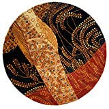 "Momeni Rugs NEWWANW-01BLK590R Wave Collection, 100% Wool Hand Carved & Tufted Contemporary Area Rug, 5'9"" Round, Black"