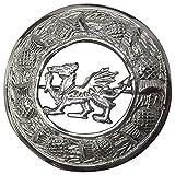 "AAR Scottish Kilt Fly Plaid Brooch Welsh Dragon Antique/ Chrome Finish 3"" (7cm)"