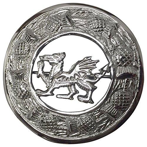 AAR Scottish Kilt Fly Plaid Brooch Welsh Dragon Antique/ Chrome Finish 3