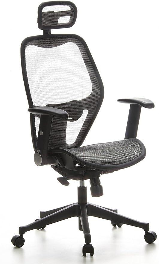 hjh OFFICE 653040 chaise de bureau, fauteuil de bureau AIR PORT gris, siège de bureau professionnel avec accoudoirs escamotables, avec soutien