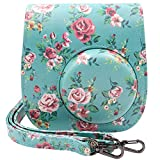 Ablus Instant Camera PU Leather Case Bag for Fujifilm Instax Mini 8 8+ 9 Instant Film Camera with Shoulder Strap and Pocket (Rose)