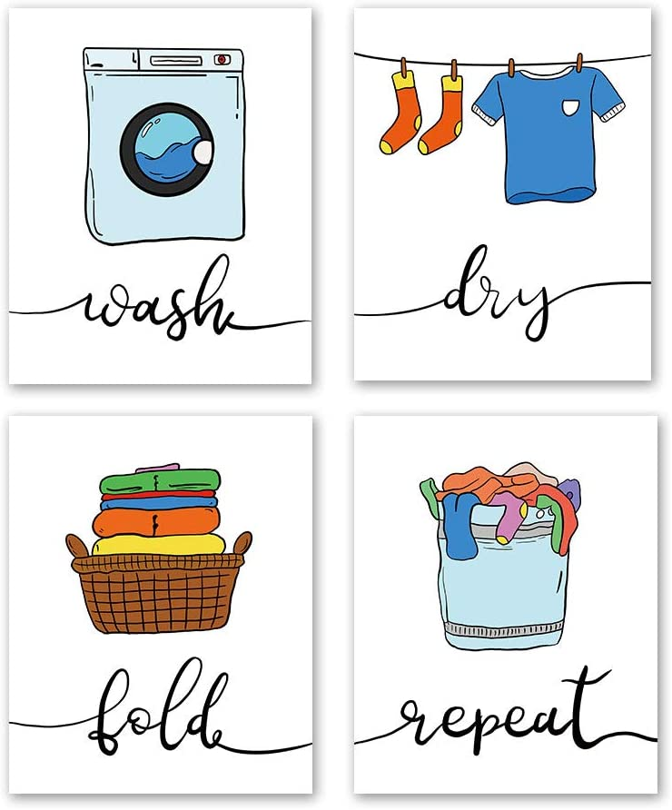 "4 Set- Colorful Laundry Quote Art Print,Wash Dry Fold Repeat Laundry Room Sign Canvas Wall Art Printing Funny Home Decoration (Unframed,8""X10"")"