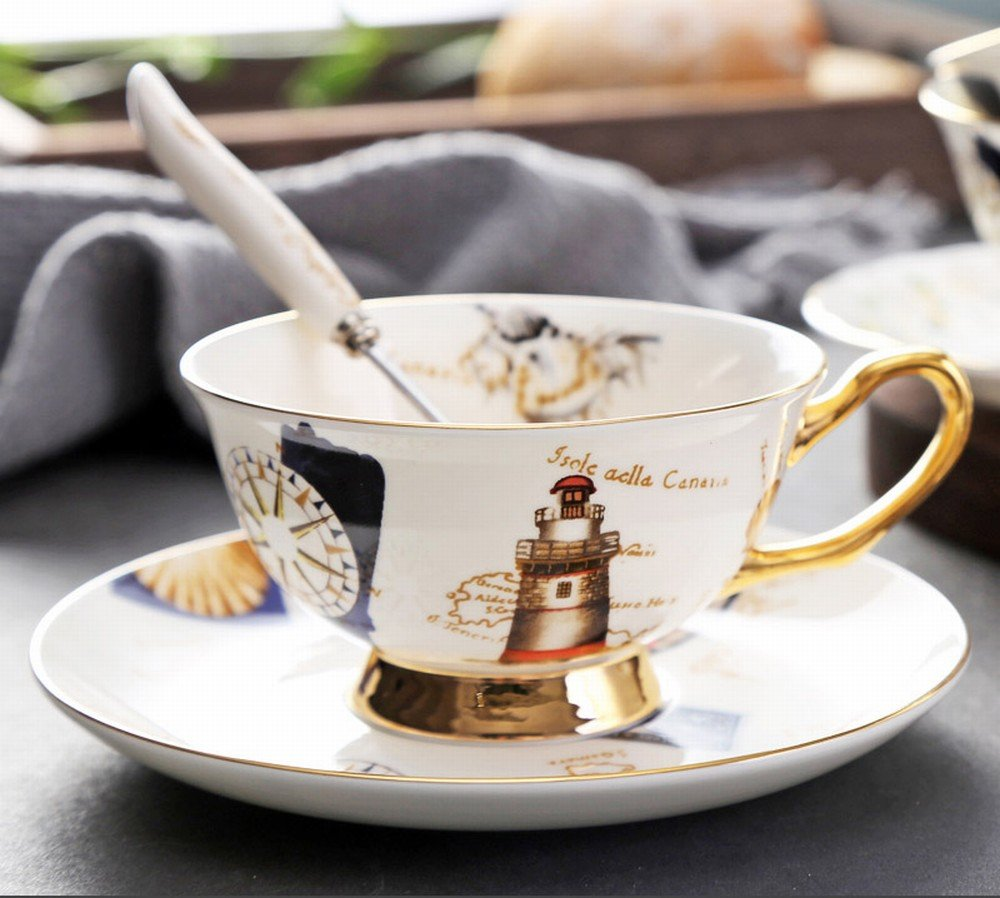 DHG European Afternoon Tea Ceramic Household Coffee Cup with Saucer Spoon Cup Holder Gift Set Simple Bone China Mark Water Cup,J,13.56.510.5CM