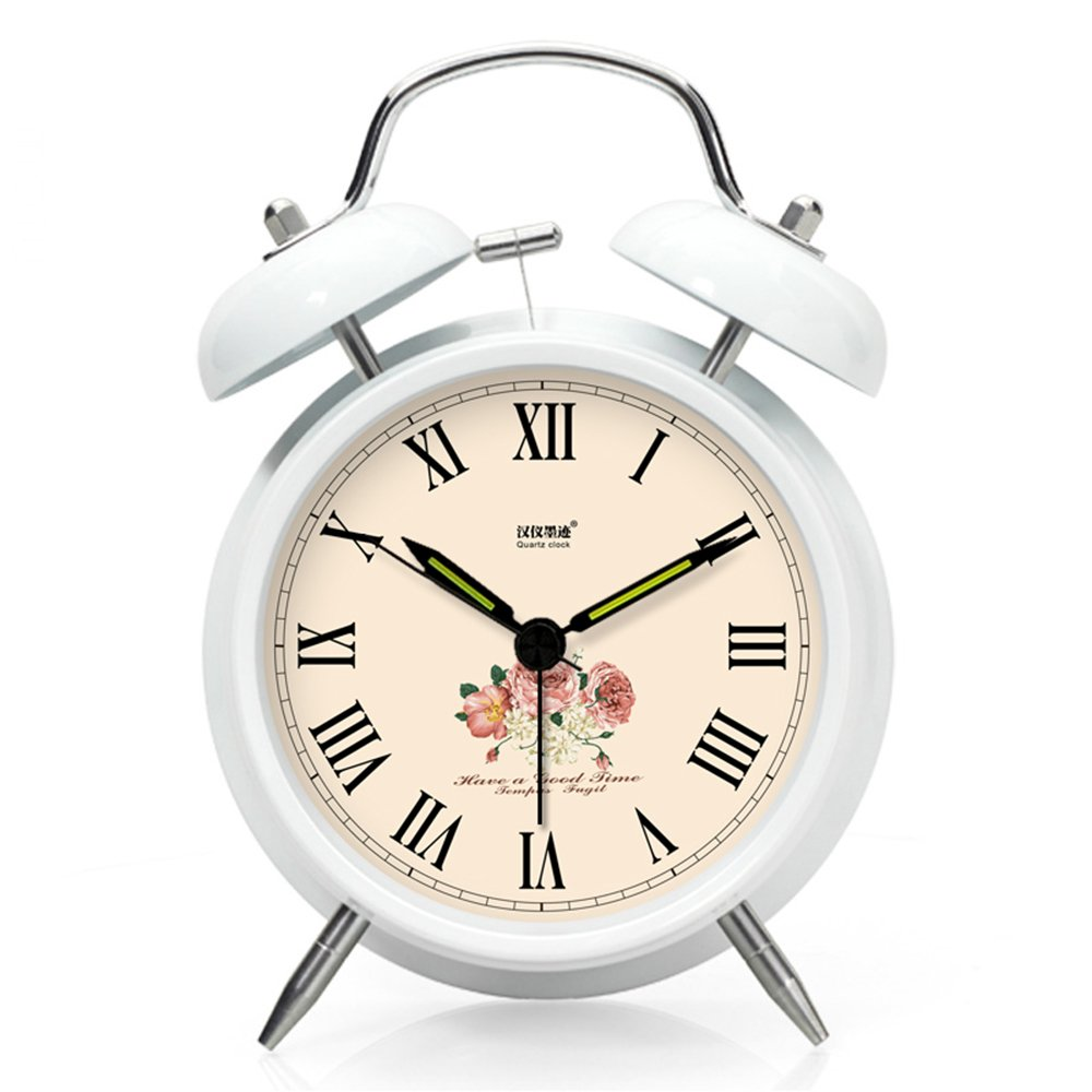 Baidercor Roman Numerals Twin Bell Alarm Clock with Nightlight White 4''