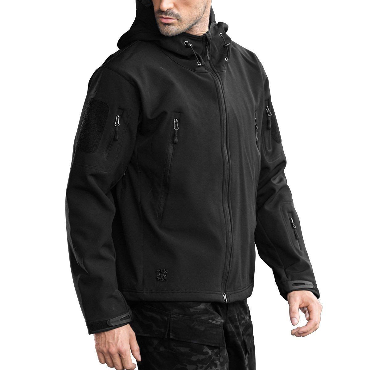 FREE SOLDIER Men's Outdoor Waterproof Soft Shell Hooded Military Tactical Jacket (Black, S)