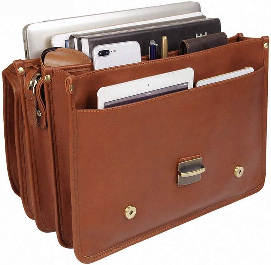 Zxcvlina Laptop Bag Briefcase Mens Briefcase Shoulder Bag Laptop Bag Leather Messenger Business Casual Bag14 inch Notebook Bags Mobile Phone Tablet Bag
