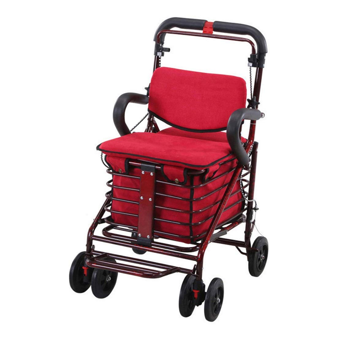 Walking Frame with Wheels Narrow,Lightweight Four Wheeled Rollator with Lockable Brake for Height Adjustment Auxiliary Walking Safety Walker (Size : Red)