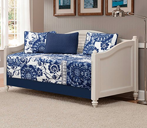 Mk Collection 5 pc DayBed quilted Floral White Navy Blue New #186