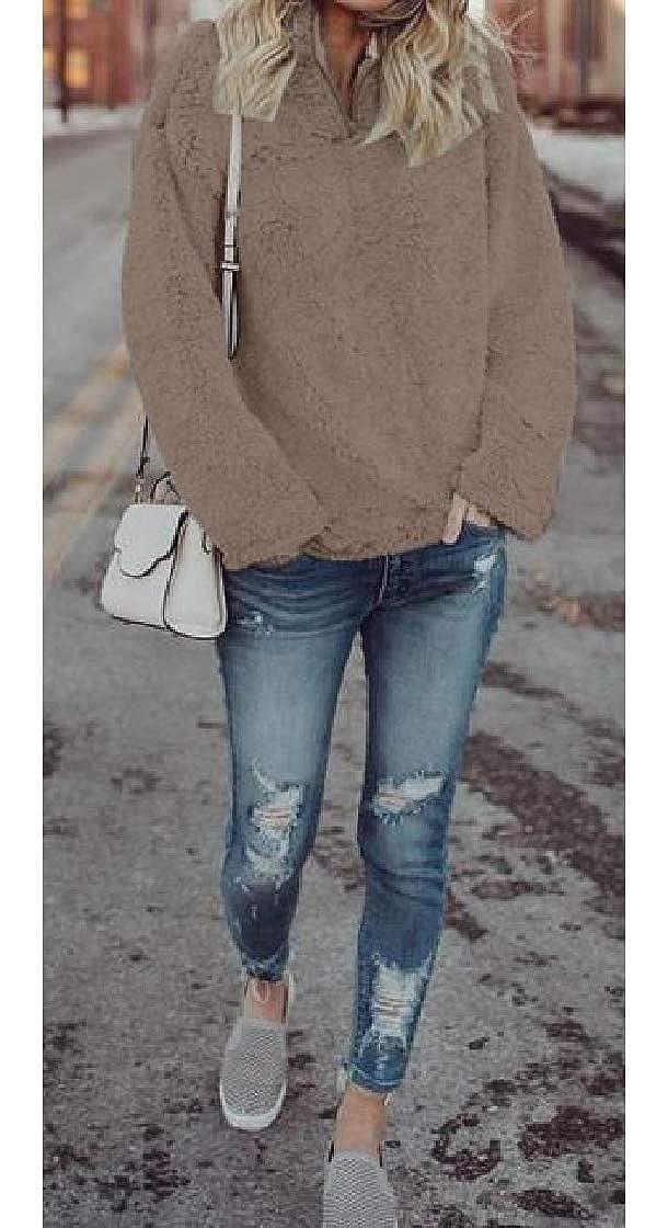 YUNY Women Zipper Cashmere Sweater Pullover Turtle Neck Long Sleeve Sweatshirts Brown L