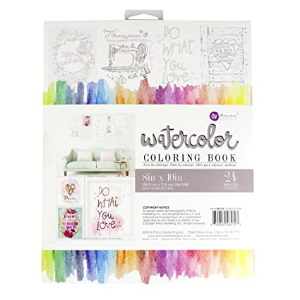 Prima Marketing Watercolor Coloring Book-(24) 8-inch x 10 ...