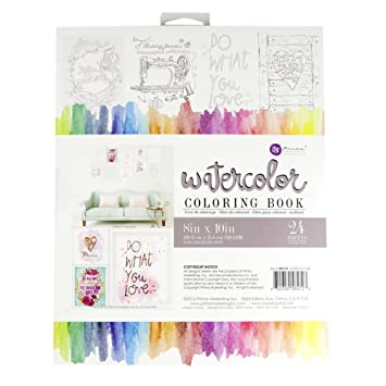 Amazon.com: Prima Marketing 585723 8x10 Watercolor Coloring Book