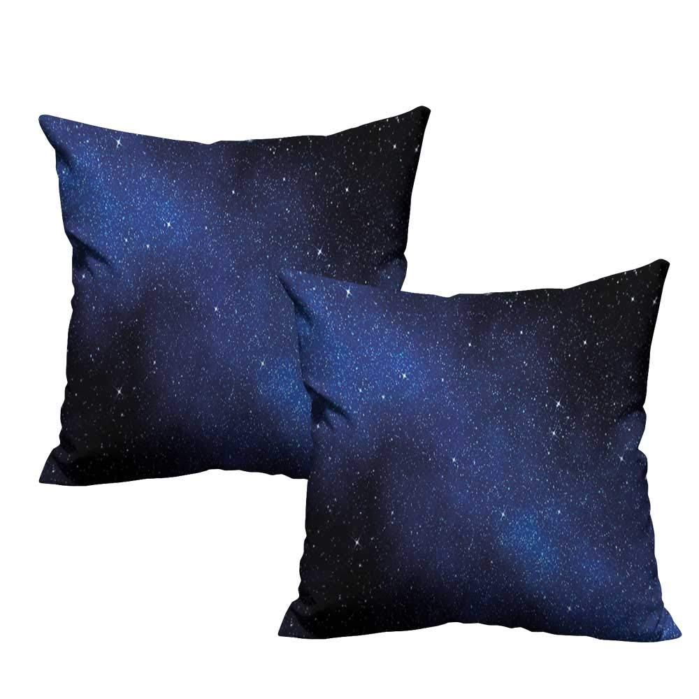 """Decorative Pillowcase Night Sky,Nebula Galaxy Stars Milky Way in Ombre Colors Outer Space Universe Image,Dark Blue and White 18""""x 18"""" Pillow Covers"""