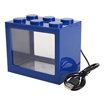 SODIAL Pecera clara de iluminacion LED USB mini Acuario de ornamento Decoracion de escritorio de oficina, Azul: Amazon.es: Hogar
