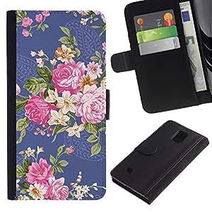 KingStore / Leather Etui en cuir / Samsung Galaxy Note 4 IV / Begonia Rose Fleur Floral