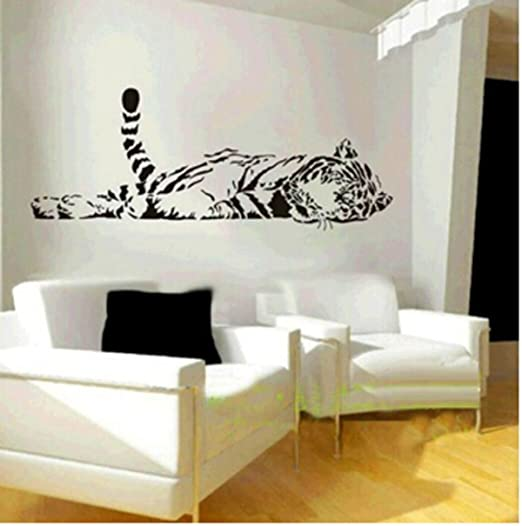 1 X Animal Wild Zoo Lying Tail Up Tiger Wall Decal Sticker Living Room  Stickers Black Color Vinyl Removable ¡   Nursery Wall Decor   Amazon.com Part 73
