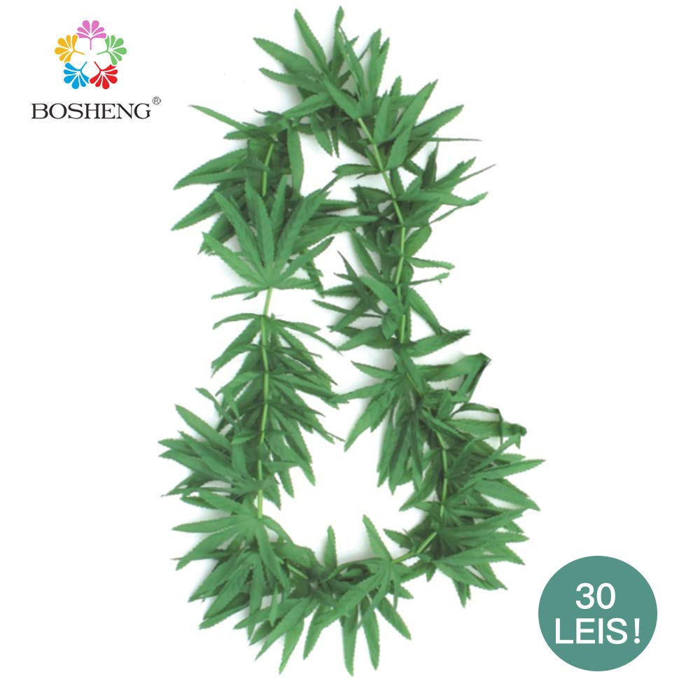 BOSHENG Green Artificial Fern Leaf Tropical Lei Necklaces,Pack of 30