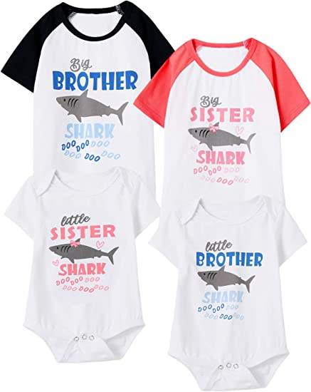 Kids Boys Baby Girls Gray Big Brother T-shirt Little Sister Cotton Bodysuit