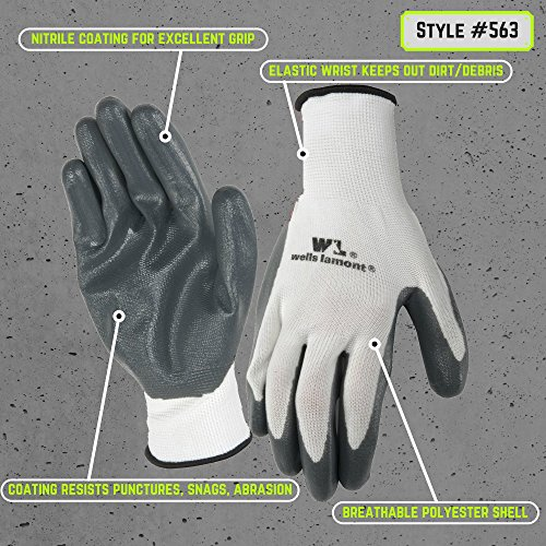 Mens Nitrile-Coated Work Gloves, All-Purpose, Large, 5-Pair Pack (Wells Lamont 563LA)