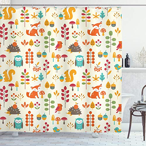 Ambesonne Children Shower Curtain, Kids Autumn Pattern with Owl Fox Squirrel Birds Animal Leaves Print, Cloth Fabric Bathroom Decor Set with Hooks, 70