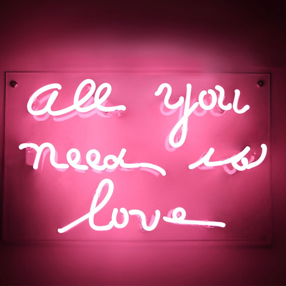 "Neon Sign 2020A Neon Sign Light Beer Bar Girls Wall Window Lights Bedroom Home Signs""ALL YOU NEED IS LOVE""13×8 Inch ,100V-240V,Pink"