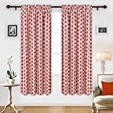 Deconovo Thermal Insulated Blackout Curtains Print Rod Pocket Drapes for Baby Room 52X84 Inch Orange Red 2 Panels