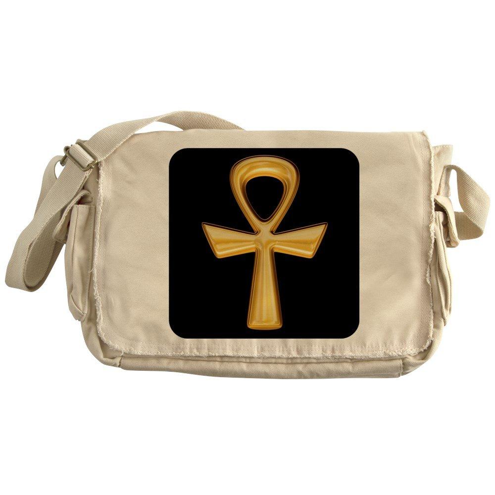 Royal Lion Khaki Messenger Bag Egyptian Gold Ankh Black