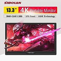 SIBOLAN S16a 13.3 inch IPS 4K HDR 3840×2160 UHD Portable Monitor with HDMI/VGA/MiniDisplay Inputs
