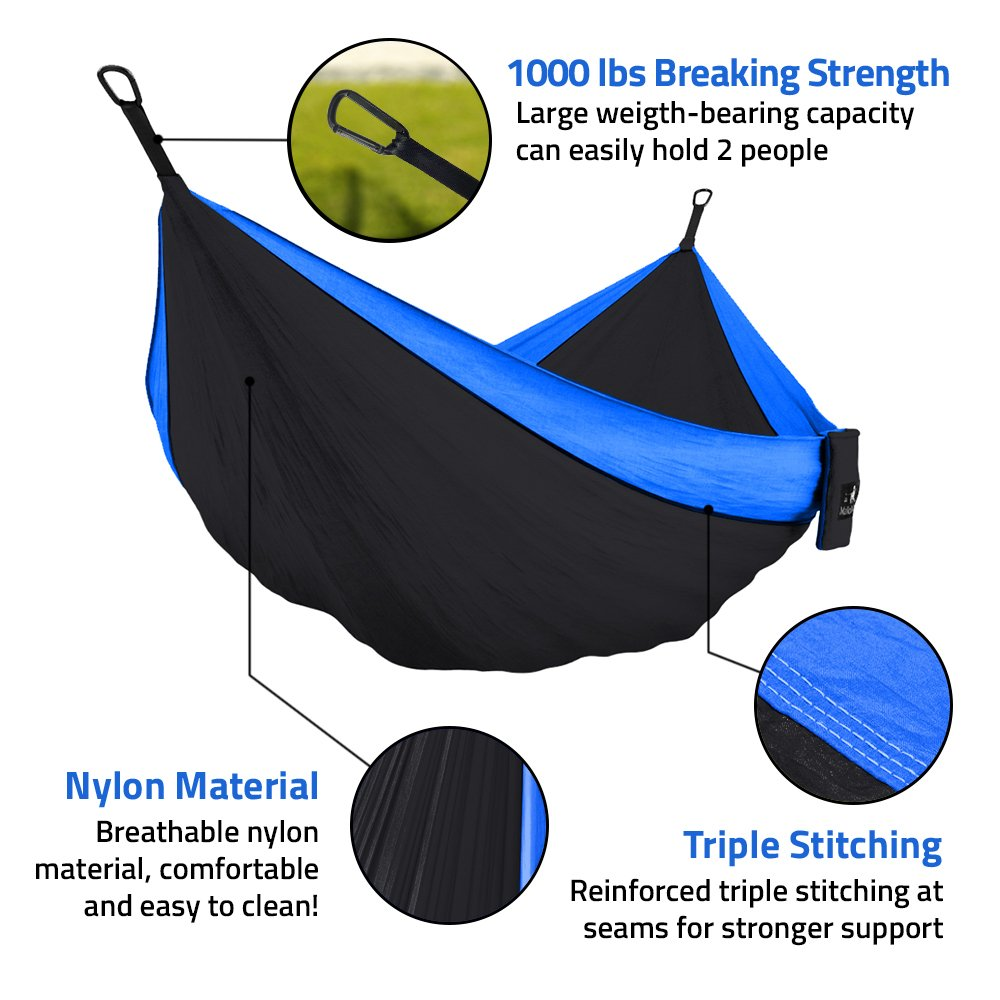 Parachute Lightweight Nylon with Hammok Tree Straps Set 2 Person Equipment Kids Accessories Max 1000 lbs Breaking Capacity Double /& Single Portable Camping Hammock Free 2 Carabiners MalloMe
