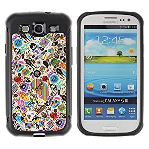 Hybrid Anti-Shock Defend Case for Samsung Galaxy S3 / Cool & Cute Tatto Pattern