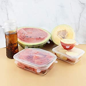 Silicone Stretch Lids Food Covers Set of 6.There are 6 Different Sizes of Reusable Covers for Food