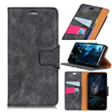 Flip Wallet Case for Huawei Honor View 10 Man Shock Protection with Card Slots Lightweight Skin and Adjustable Stand Grey