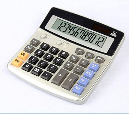 Calculadora de mesa con pantalla LED de 12 dígitos solar, doble ...