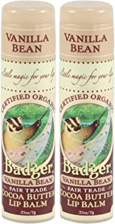 product image for Badger Cocoa Butter Lip Balm-Vanilla Bean, 2 pack