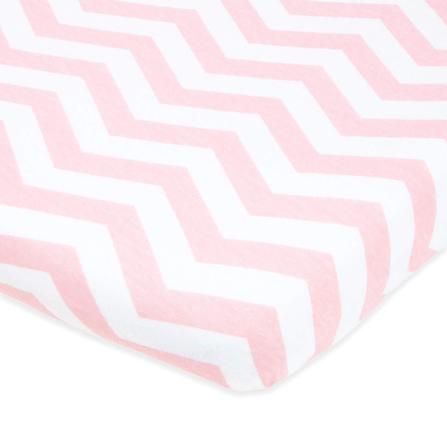 Cuddly Cubs Pack n Play Sheets | 2 Pack Playard Sheet for Baby Girl and Boy | 100% Jersey Cotton Unisex Mini Portable Crib Sheets | Bows and Chevron in Grey and Pink | Fits Graco, Joovy & Others by Cuddly Cubs (Image #2)