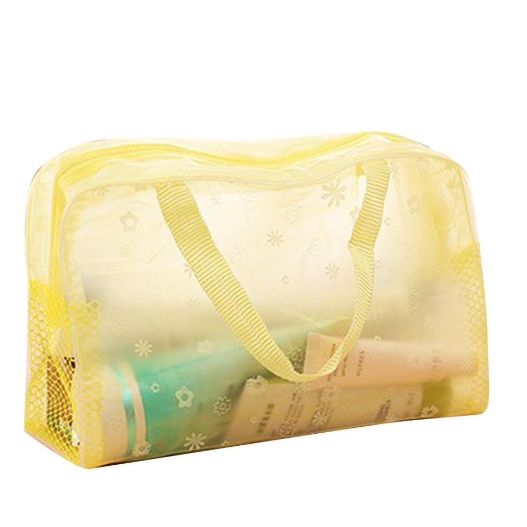 Inkach Travel Makeup Storage Bags - Waterproof Toiletry Bags Cosmetic Pouch Organizer (Yellow)