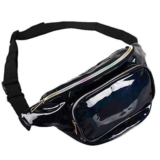 a89afad0b196 Unisex Waist Bag Holographic Rave Fanny Pack for Women and Men with  Adjustable Belt for Trip, Festival, Travel, Party