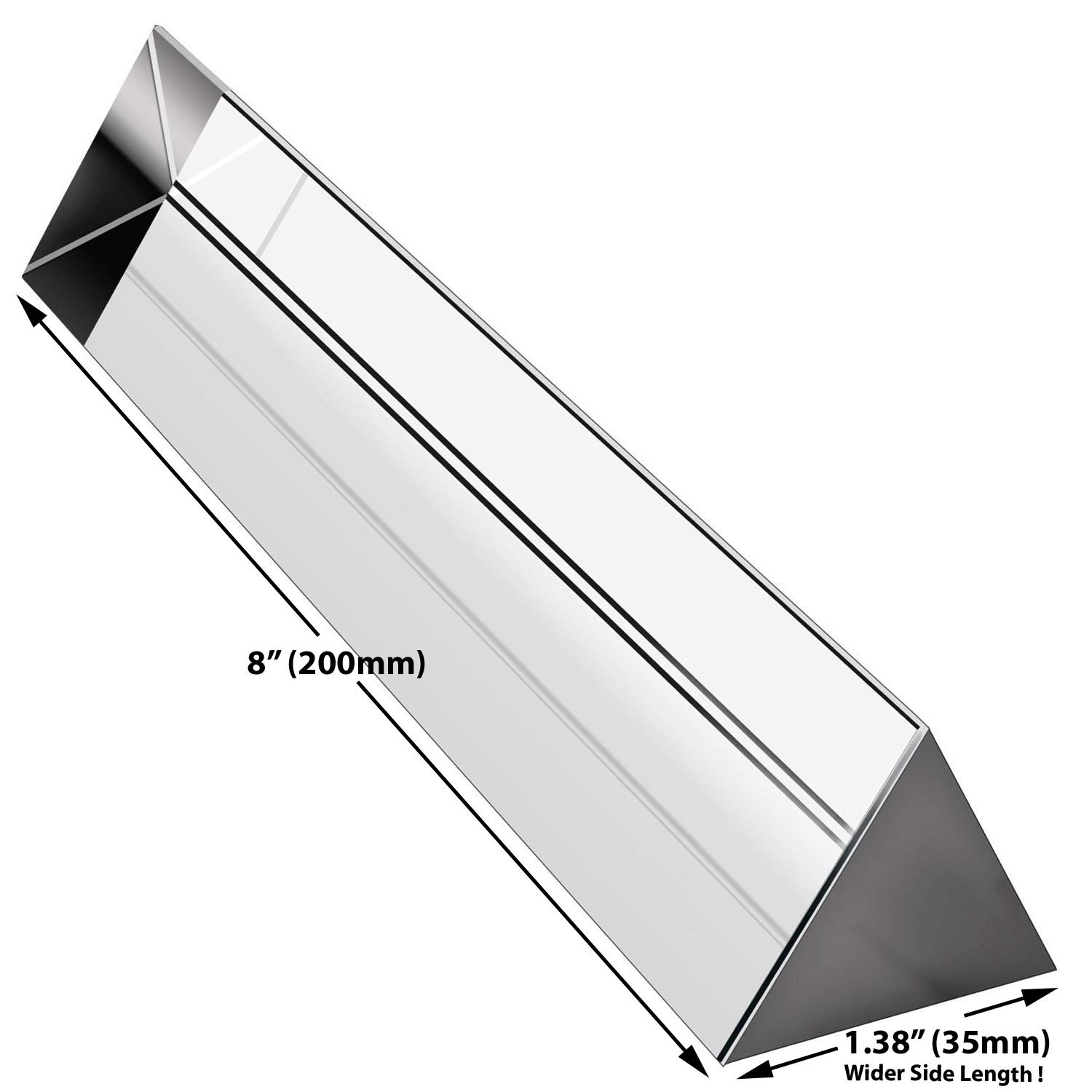 Amlong Crystal 8 inch Optical Glass Triangular Prism for Teaching Light Spectrum Physics and Photo Photography Prism, 200mm