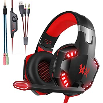 Mengshen Auriculares para Juegos - con micrófono, Control de Volumen y Luces LED geniales -