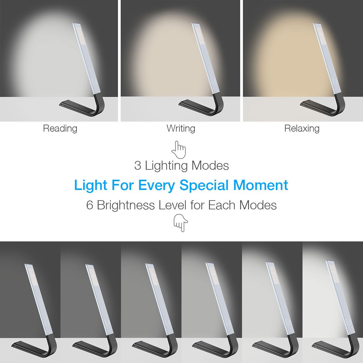 Poweradd LED Desk Lamp, Eye Caring Table Lamp with USB Charging Port, 6 Brightness Levels and 3 Color Temperature Modes Dimmable Touch Sensitive Control, Memory Function, Foldable Table Light