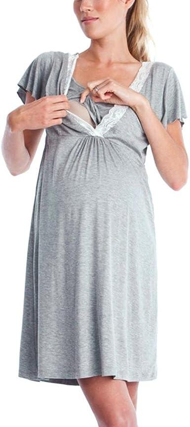 K-youth Vestido de Lactancia Maternidad Premamá Embarazo Lactancia Pijama Verano Manga Corta Ropa de Dormir Premamá para Amamantar