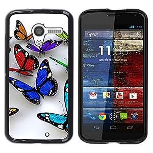 TopCaseStore / la caja del caucho duro de la cubierta de protección de la piel - Butterfly 3D Nature White Clean Spring - Motorola Moto X 1 1st GEN I XT1058 XT1053 XT1052 XT1056 XT1060 XT1055