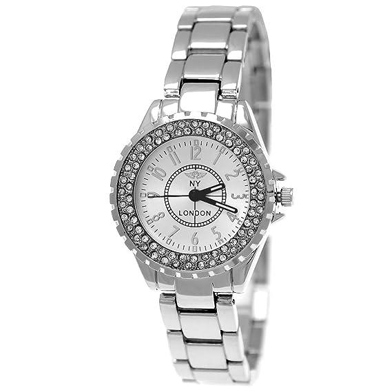 NY LONDON - Reloj Mujer Mujer brillantes Reloj Plata, incluye caja para relojes: Amazon.es: Relojes