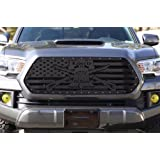 300 Industries Steel Grille Replacement for Toyota Tacoma 2016-2017 - Single Piece Powder Coated Satin Black - Liberty…