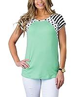 MEROKEETY Women's Polka Dots Shirt Striped 3/4 Sleeve Casual Scoop Neck Tops Tee