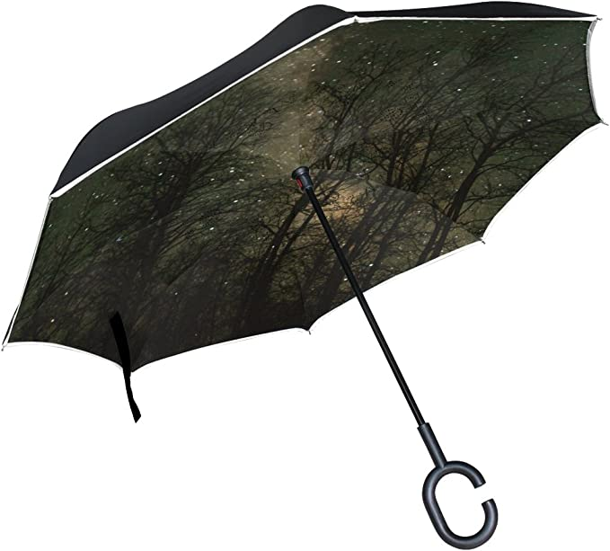 AHOMY Inverted Reverse Umbrella Leaf Flower Tree Branch Windproof for Car Rain Outdoor