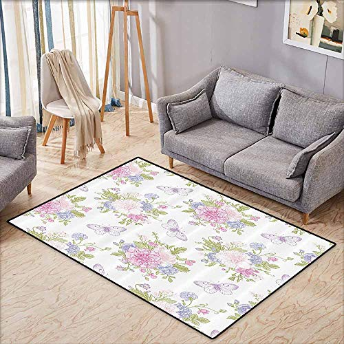 Custom Rug,Shabby Chic,Flowers Floral Design with Buds and Butterflies Ivy Swirl Art,Children Crawling Bedroom Rug,3