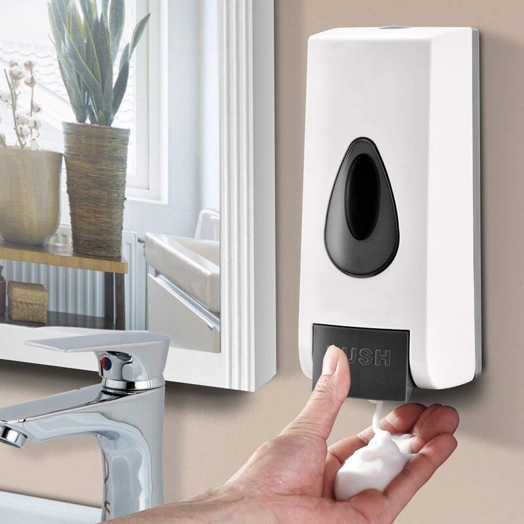 Color : White, Dimensione : 10 * 9.5 * 23cm LKs Shop Dosatori per Sapone Dispenser di Sapone for Schiuma da Bagno Manuale da 500 ml a Parete con Schiuma ABS Accessori per Il Bagno
