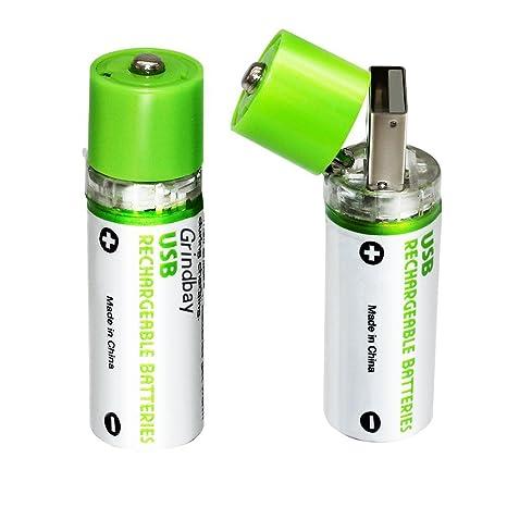 Batería Recargable AA, R6 Chargeable Integrado y USB ...