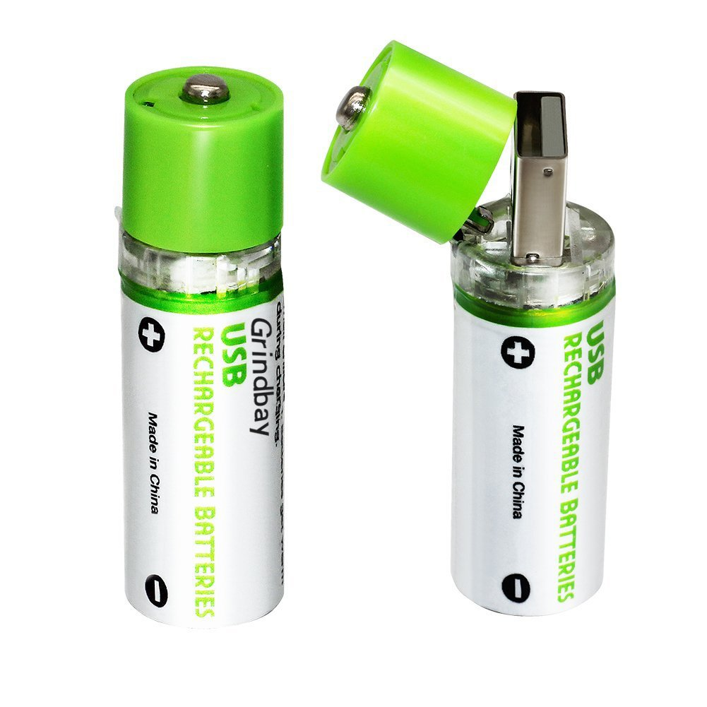 Grindbay Rechargeable AA Battery, R6 Chargeable Integrated USB Charg Batteries 1450mAh 1.2V, 2 Cell Pack